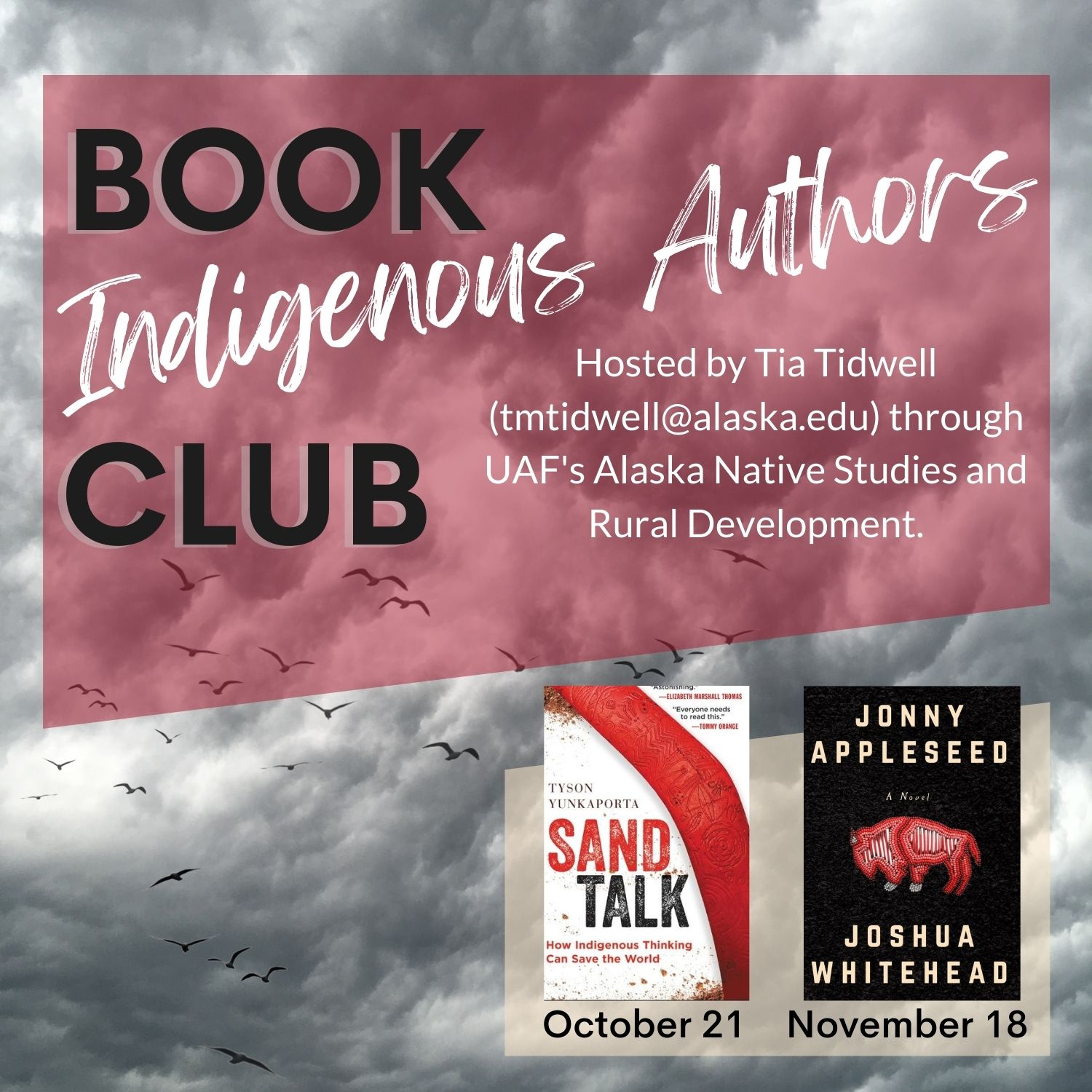 """Cloudy background with """"Indigenous Authors Book Club"""" printed on top"""